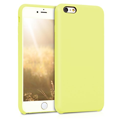 kwmobile TPU Silicone Case Compatible with Apple iPhone 6 Plus / 6S Plus - Soft Flexible Rubber Protective Cover - Pastel Yellow