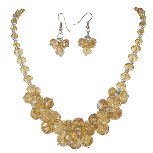 Glass Cluster Beads Silver Tone Statement Necklace & Dangle Earrings Set (Topaz Color Brown) for $<!--$21.99-->
