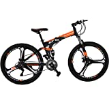 Eurobike Folding Bike 21 Speed Full Suspension Mountain Bicycle 27.5' Daul Disc Brake (Orange)