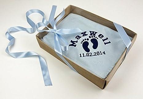 De personalizado de tu propio o cama de matrimonio blanco y azul de huellas sobre