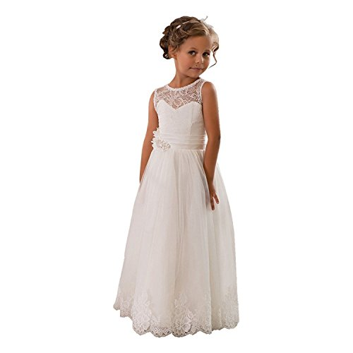 (Lace Embellished A-Line Sleeveless Girls Wedding Party Dresses (White, Custom)