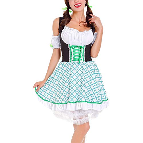 Togethor Oktoberfest Waitress Dress Short German Wear Party Dirndl Dress Costumes for Bavarian Carnival Halloween Green -