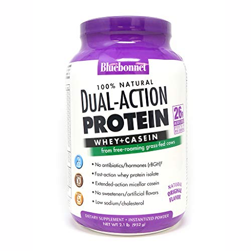 Bluebonnet Nutrition Dual-action Protein Powder, Whey From Grass Fed Cows, 26g of Protein, No Sugar Added, Non GMO, Gluten Free, Soy free, kosher Dairy, 2.1 Lbs, 28 Servings, Original Unflavored
