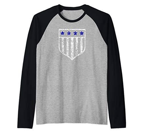 (Distressed Tee Thin Blue Line Olive American Flag USA Shield Raglan Baseball Tee)