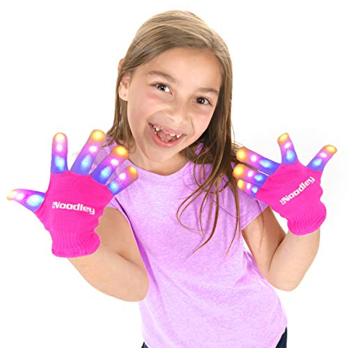 The Noodley Flashing LED Light Gloves - Kids Size - Extra Batteries Girls Gift Toy Easter (Small, Pink) ()