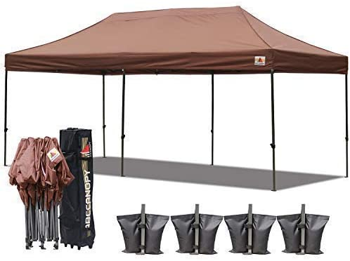 ABCCANOPY 18 Colors 10×20 Pop up Tent Instant Canopy Commercial Outdoor Canopy with Wheeled Carry Bag Bonus 6 Weight Bags Brown