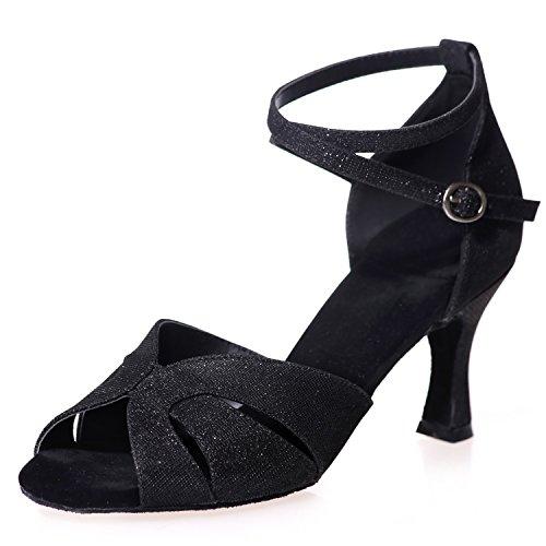 Ballroom Black Donna Elobaby da 7 Buckle Latin da Samba Jazz Satin Scarpe Heel A8349 5cm Ballo Glitter qcqwzaUy