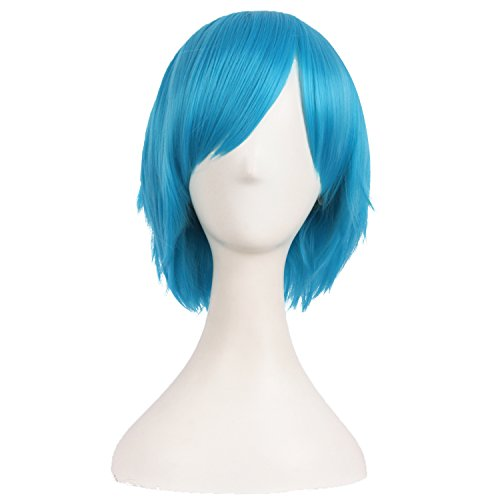 MapofBeauty 12 Inch/30cm Men Male Short Cosplay Synthetic Wig (Cyan Blue) (Cyan Shorts)