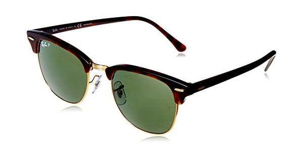 7d851e6fa Ray-Ban Green Clubmaster Men's Sunglasses RB 3016 990/58 51 21 145mm:  Amazon.com