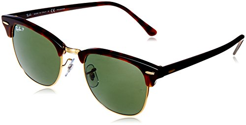 Ray-Ban RB3016 Clubmaster Square Sunglasses, Red Tortoise/Polarized Green, 51 ()