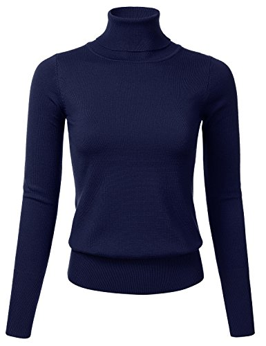 FLORIA Women Stretch Knit Long Sleeve Turtleneck Top Pullover Sweater NAVY L