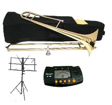 Merano Gold B Flat Tenor Slide Trombone with Zippered Carrying Case+Metro Tuner+Black Music Stand WD427-MT