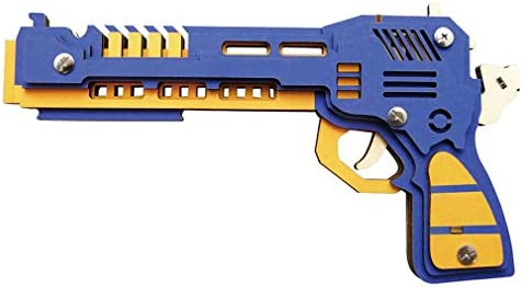 Goma 3d Pistola Juguetes Madera Diy De Disparos Lsqr Banda jRL54A