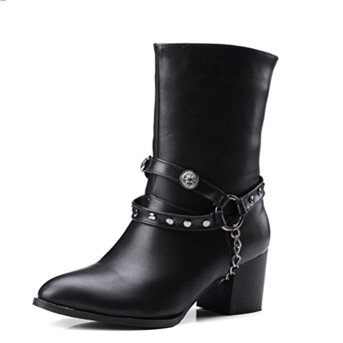 Ei&iLI Rivets de chaussures femmes haut talon bottes / a souligné Toe High Boots Dress , black , 41