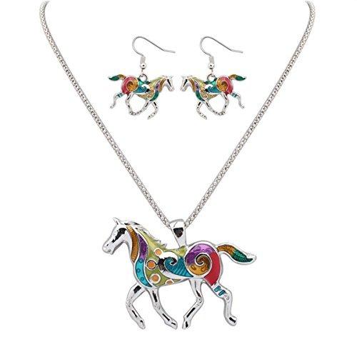 mengda-women-jewelry-oil-drip-rainbow-horse-pendant-necklace-earrings-set-white