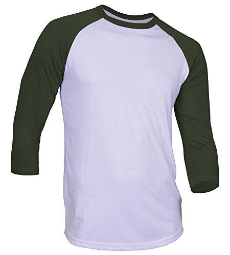 DREAM USA Men's Casual 3/4 Sleeve Baseball Tshirt Raglan Jersey Shirt White/HuntGrn Large