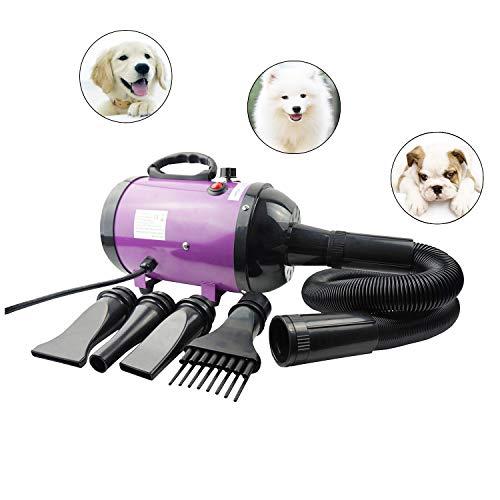 Proshopping 4.2HP Dog Dryer, Professional Pet Dryer, High Power Pet Hair Blower, Adjustable Speed Dog Grooming Force Heater Machine, with 4 Nozzles - for Dogs, Cats, Large Animals - Purple ()