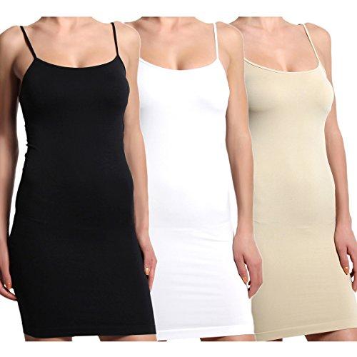 TheMogan 3 Pack : Women's Seamless Stretchy Spaghetti Strap Mini Dresses Black White Nude (Cami Under)