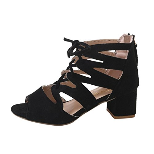 YANG-YI Clearance Women Sandals Ankle Square Heels Block Party Open Toe Shoes (Black, US-6.5) ()