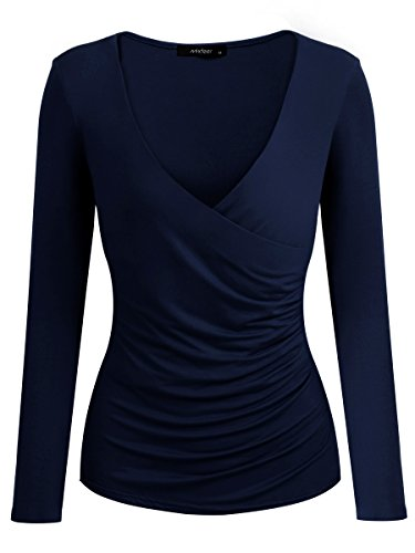 V Neck Long Sleeve Cross Front Ruched Slim Fit T-Shirt Pullover Wrap Tops (L, Blue) (Long Sleeve T-shirt Wrap)