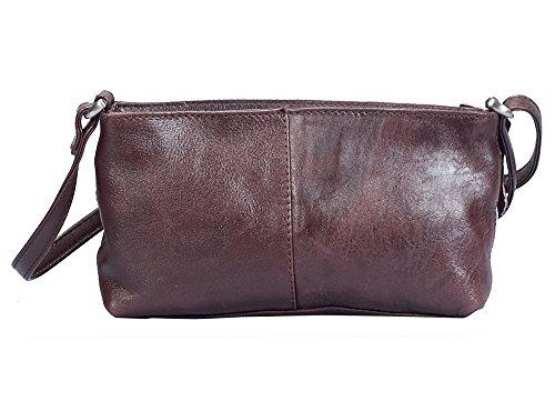 """Vilenca """"70065 Marrone scuro"""" Signore borsa a tracolla, borsa di cuoio per le donne, Dimensioni-L23cmxH12cmxB4cm"""