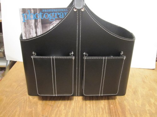 Black Faux Leather Silver Buckle Handle Magazine Newspaper Basket/holder Father Day Gifts by UBC
