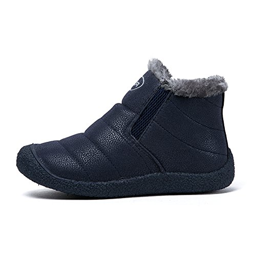 Fexkean Unisex Warm Snow Boots Slip On Winter Shoes With Soft Fur Waterproof Ankle Bootie For Men and Women 2-Blue d6h0Mu