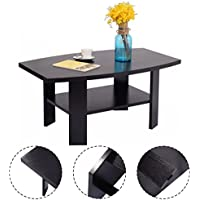Giantex Two-Layer Coffee Table End Table Wood Simple Design Home Living Room Furniture w/ Storage Shelf Black