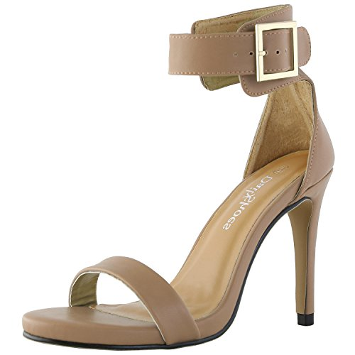 DailyShoes Women's Stiletto Heels Open Toe Ankle Buckle Strap Platform High Heel Evening Party Dress Casual Sandal Shoes, Nude PU leather, 7 B(M) US