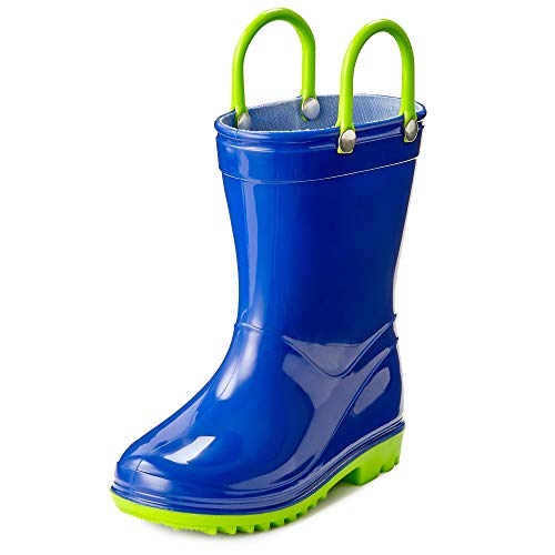 Puddle Play Toddler and Kids Waterproof Solid Rain Boots with Easy-On Handles - Size 2 Little Kid - Navy with Lime Green Trimming GNR87521 -