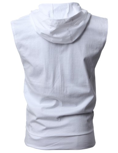 H2H Men's Casual Hooded Sleeveless Tank Tops Cotton Sleeveless T-shirts WHITE Asia XXXL (JPSK13_N25) by H2H (Image #3)