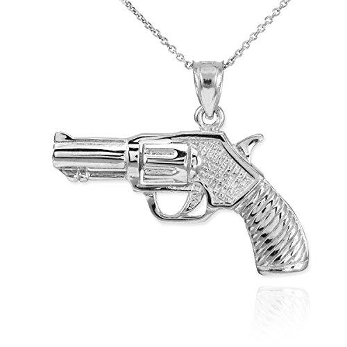Dainty 925 Sterling Silver Gun Charm Revolver Pistol Pendant Necklace, (Sterling Silver Revolver)