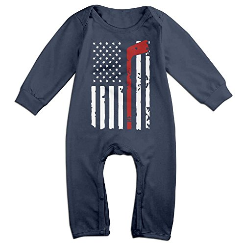 Mri-le1 Newborn Baby Organic Coverall Hockey American Flag Toddler Jumpsuit