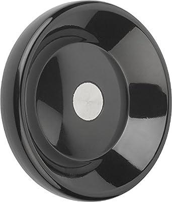 100 mm Diameter K0165.0100X06 Steel Bushing Metric 6 mm Bore Size KIPP Inc Style D Kipp 06288-0100X06 Duroplastic Black Disc Handwheel without Revolving Handle High-Gloss Polished Finish