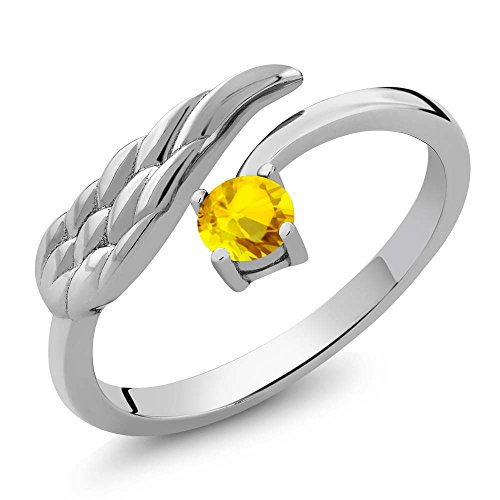 036-Ct-Round-Yellow-Sapphire-925-Sterling-Silver-Wing-Ring