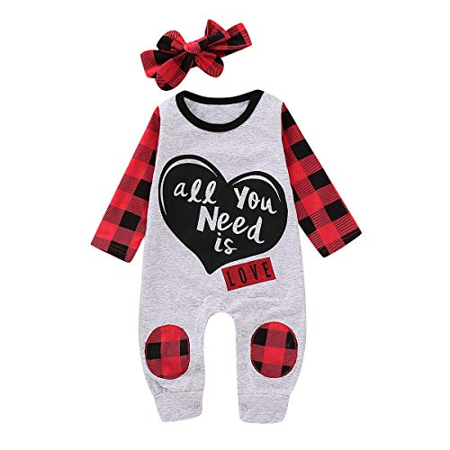 (Infant Girls Clothes My First Outfits Black and Red Plaid Long Sleeve Romper Jumpsuit with Black Heart-Shaped and Letter + Big Bow Red Plaid Headband 2Pcs Baby Girl Outfits 6-12 Months)