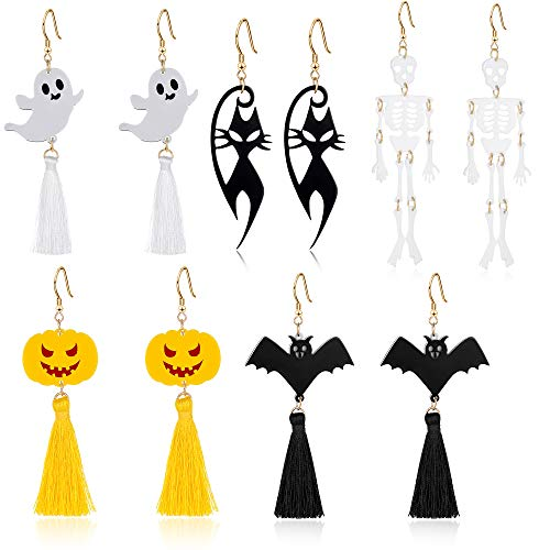 Miraculous Garden Halloween Tassel Earrings Set - 5 Pairs Halloween Drop Dangle Earings for Women Girls, Including Halloween Ghost,Pumpkin,Elf,Cat,Bat Earrings Female Party on Halloween -