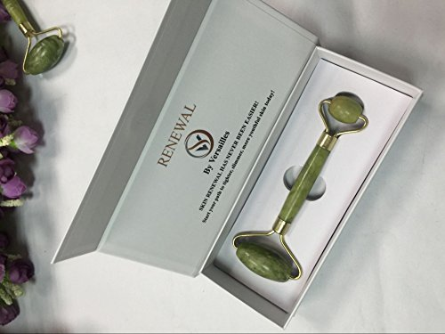 DORIS Jade Roller for Facial Massage | Carefully selected Premium Natural Jade, Hand-Polished, Help reduce wrinkle, brighten skin, two size roller for Face, Neck & Eyes | Essential skin care tool