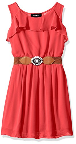 Amy Byer Belt (Amy Byer Big Girls' Ruffle Front Dress with Open Back and Belt, Coral, 8)