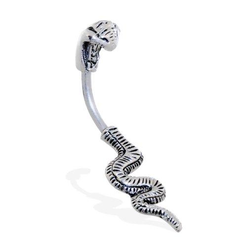 MsPiercing Steel Cobra Belly Ring (Cobra Ring Belly Button)