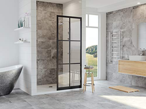 Coastal Shower Doors GSFD1P40.75O-C Gridscape Full Divided-Light Shower Screen, 40 X 75, Black ()