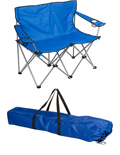Loveseat Style Camp Chair - Steel Frame - Double Seater - by Trademark Innovations (Blue, 31.5''H) by Trademark Innovations