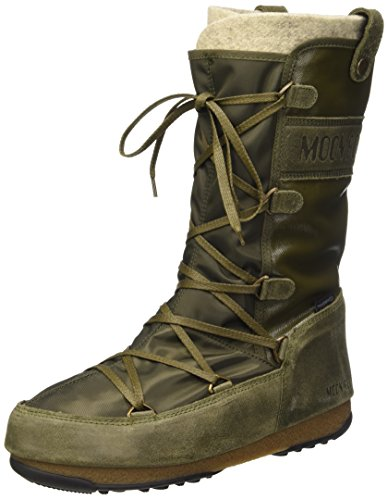 MoonBoot Moon Boots Monaco Mix Military Green, Waterproof Iconic Boot 40/ UK 6.5 - 7