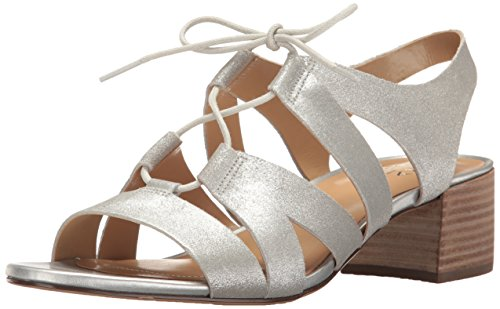 Naturalizer Women's Felicity Ghillie-Lace Sandal,Soft Silver Metallic Suede,US 7