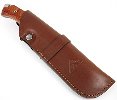 TARTESSUS ONE - Outdoor / Survival / Hunting / Tactical Knife - Cocobolo wood handle, Stainless Steel MOVA-58 - Genuine Leather Sheath. Made in Spain by CDS-Survival (Image #6)