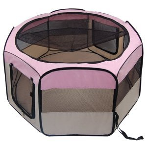 Pink 45-inch Diameter 24″ Height Octagon Pet Playpen Oxford Cloth Material w/ Zip Cover 2 Doors Carrying Case for Dog Pup Exercise Play Pen Train Hamster Kennel For Sale