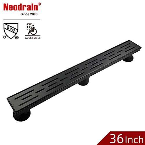 (Neodrain 36 Inch Rectangular Linear Shower Drain with Brickwork Pattern Grat, Brushed 304 Stainless Steel Bathroom Floor Drain,Shower Floor Drain Includes Adjustable Leveling Feet, Hair Strainer,Black)