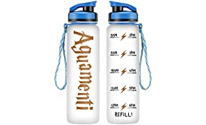 LEADO 32oz 1Liter Motivational Water Bottle w/Time Marker - Aguamenti, HP Merchandise - Funny Mothers Day, Potterhead Birthday Gifts for Women, Men, Best Friends, Mom, Daughters, Dad, Wife, Husband