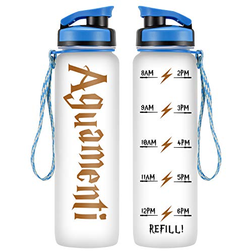 LEADO 32oz 1Liter Motivational Tracking Water Bottle with Time Marker - Aguamenti - Funny HP Fans Birthday Merchandise Gifts for Women, Men, Mom, Dad, Husband, Wife, Best Friends - Drink More Water