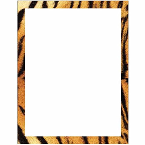 Tiger Print Border Stationery Letter Paper - Wildlife Animal Theme Design - Gift - Business - Office - Party - School Supplies